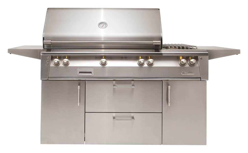 Alfresco-56-Inch-built-in-outdoor-stainless-steel-grill-side-burner-deluxe-cart