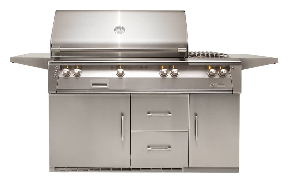 Alfresco-56-Inch-built-in-outdoor-stainless-steel-grill-side-burner-temp-control