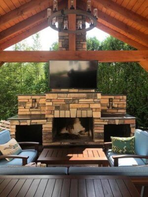 New Age Fire Place with TV mounted on top