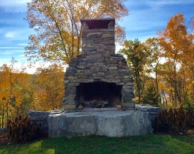 outdoor fireplace, outdoor fireplace kit, masonry fireplace kit, outdoor fire feature