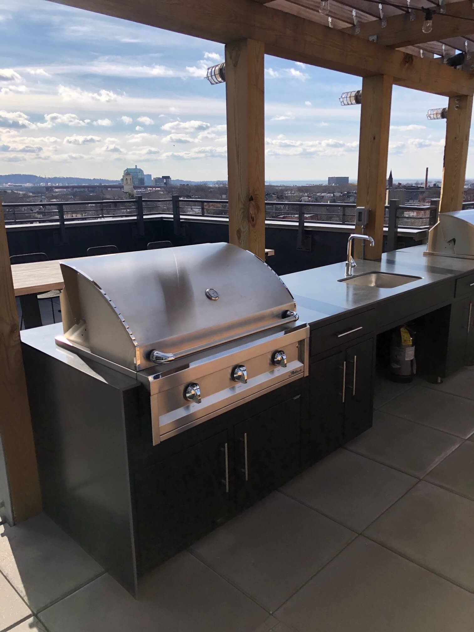 Outdoor Aluminum Kitchen Cabinets are a great entertaining solution for rooftops, patios and decks.