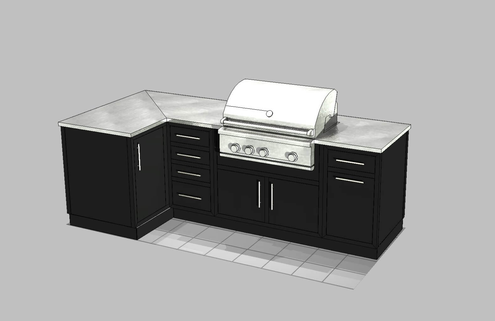 3D Textured Black L Shaped Outdoor Kitchen