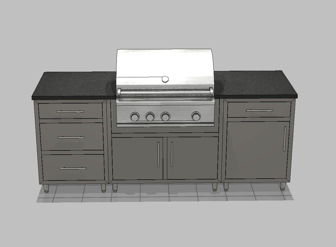 3D Front View of Textured Grey Glimmer Outdoor Kitchen