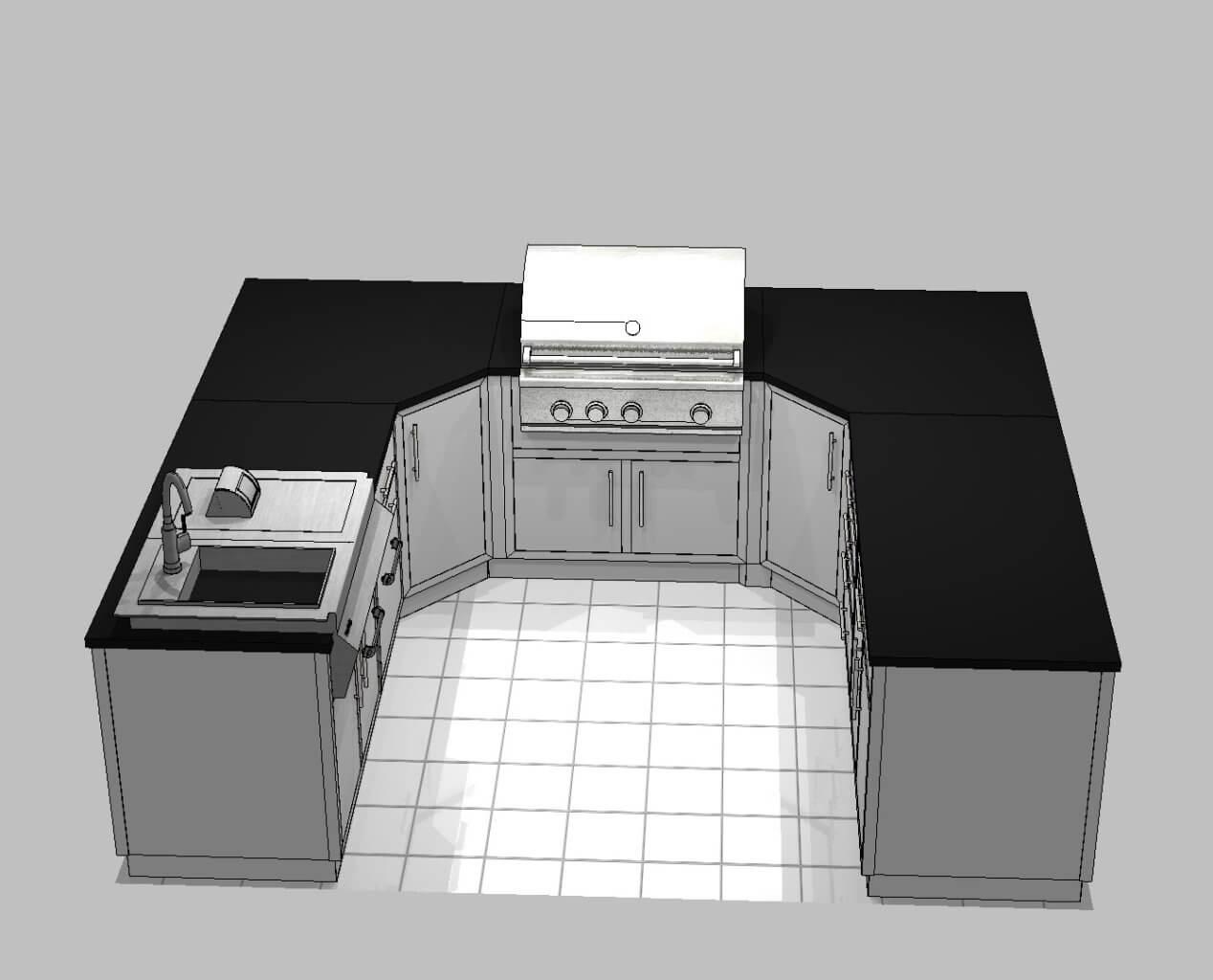 3D rendering for Textured Grey U Shaped Outdoor Kitchen
