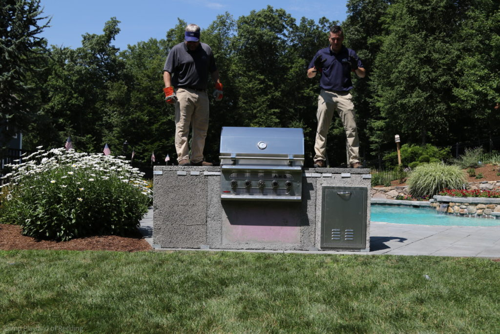 American muscle grill, stainless steel grill, outdoor modular kitchen, modular outdoor kitchen, outdoor entertaining, stone outdoor kitchen cabinets, outdoor living