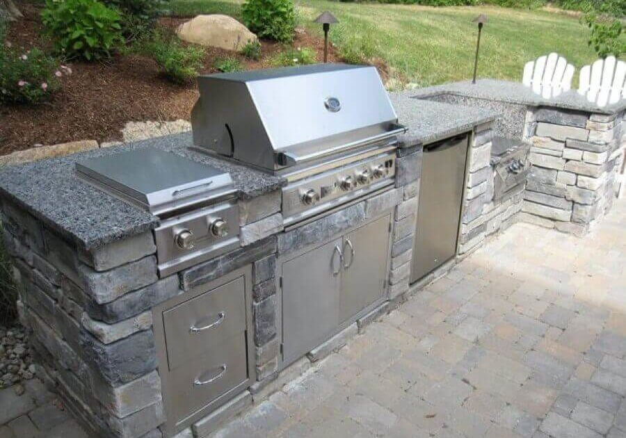 Non Masonry stainless steel cabinets and grill