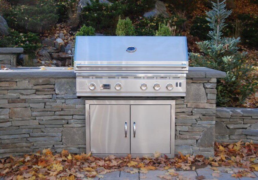 Masonry outdoor kitchen stainless steel cabinets and grill