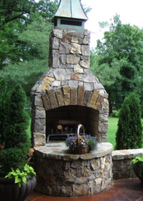 outdoor fireplace kit, outdoor fire feature, outdoor living
