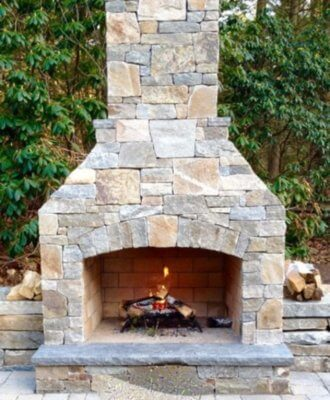 outdoor fireplace kit, outdoor fireplace, outdoor fire feature, masonry fireplace kit
