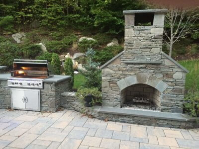 outdoor fireplace kit, outdoor fireplace, stainless steel grill, outdoor fire feature