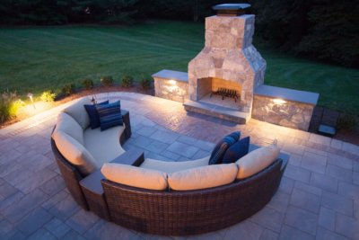 outdoor fireplace, outdoor fireplace kit, outdoor fire feature, masonry fireplace, masonry fireplace kit