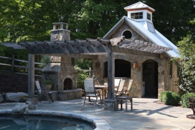 outdoor living space, outdoor fireplace, outdoor fireplace kit, outdoor fireplace pergola, masonry fireplace kit