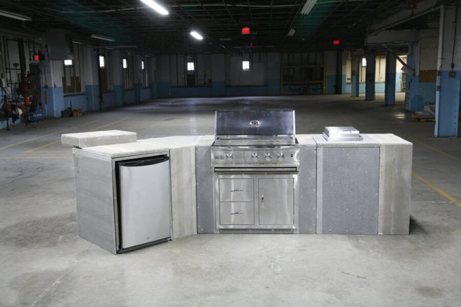 outdoor kitchen cabinet, stainless steel grill