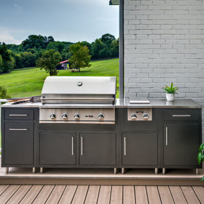 Dark Blue Powder Coated Aluminum Outdoor Kitchen With Stainless Steel Grill and Side Burner