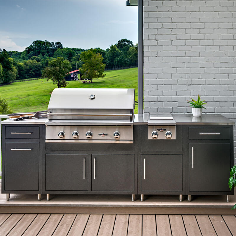 Anthracite powder coated aluminum kitchen with stainless steel grill and side burner