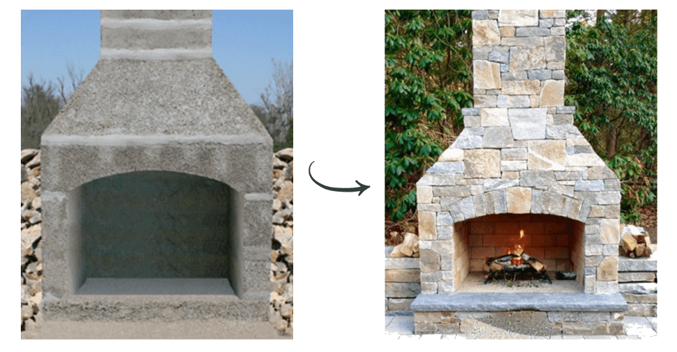 This Same Outdoor Stone Fireplace Kit Was Used By The Mason On Right Who Customized It Adding A Chimney Extension And Building Base Hearth That